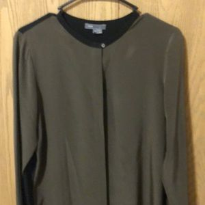 Vince woman's olive green and black blouses